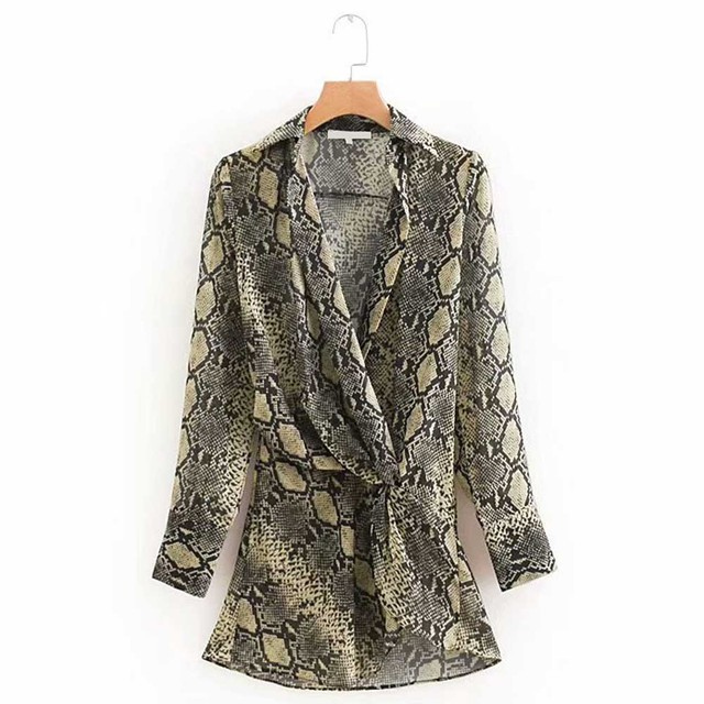ANSFX Vintage Snake Print Waist Tied Knot Slim Shirt Long Sleeve Turn-down  Collar Casual Women Mid Long Blouse Tops blusas 99a0163207