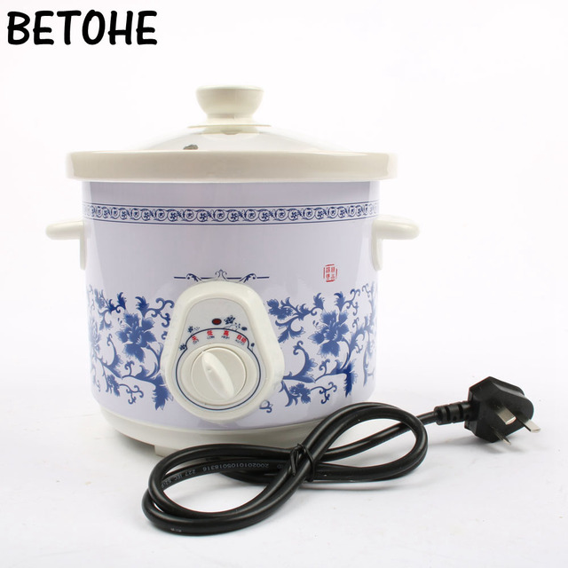 BETOHE electric 140w Slow Cookers mini mechanical timer control stew foods Ceramic liner Blue and white porcelain color