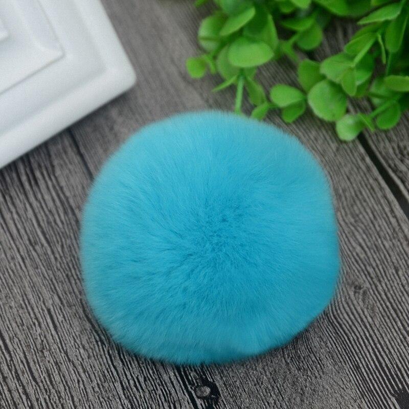 8cm Nature Genuine Rex Rabbit Fur Ball Pom Pom Fluffy DIY Winter Hat   Skullies     Beanies   Knitted Cap Pompoms TWF001-seablue