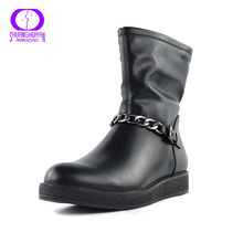 Nova Europa Estilos Curtas Dedo Do Pé Redondo Tornozelo Mulheres Botas De Metal cadeia de Mulheres de Couro Sapatos de Tamanho Grande Senhoras Negras Botas Bottes Femmes(China (Mainland))