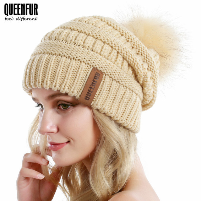 954d16e1952100 Women Knit Slouchy Hat Chunky Baggy Beanie with Removable Faux Fur Pompom  Gorros Winter Soft Warm Solid Ski Cap Skullies