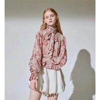 Cosmicchic Runway Women Silk Shirt Floral Print Chiffon Blouse Long Sleeve Bow Collar Elegant Bohemian Shirt Top 2019SS