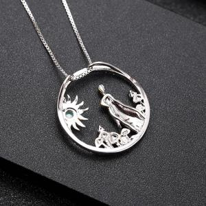 Image 4 - GEMS BALLET 925 Sterling Silver Handmade Rabbit Mushrooms Natural Chrome Diopside Pendant Necklace For Women Zodiac Jewelry
