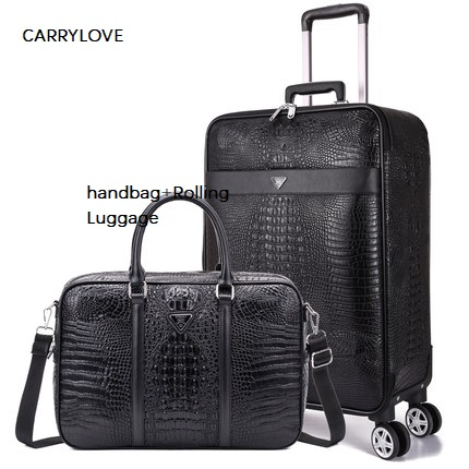 CARRYLOVE 16/20/22/24 Inch Size Business Noble Handbag+Rolling Luggage Spinner Brand Travel Suitcase