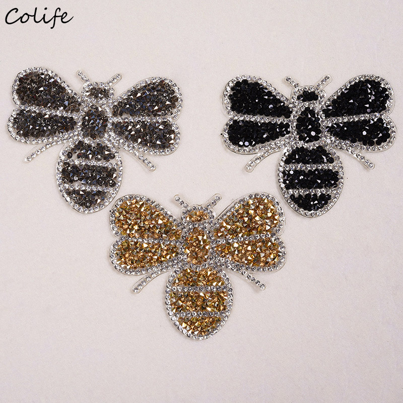 Black Bee Embroidered Patches For Clothes Rhinestone Decor DIY Cute Animal Patches Appliques Clothing T-shirt Cloth Sticker