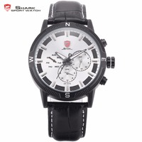 Swell Shark Sports Watch Mens Pilot Army White 3 Dial Date Day 24Hrs Quartz Black Leather