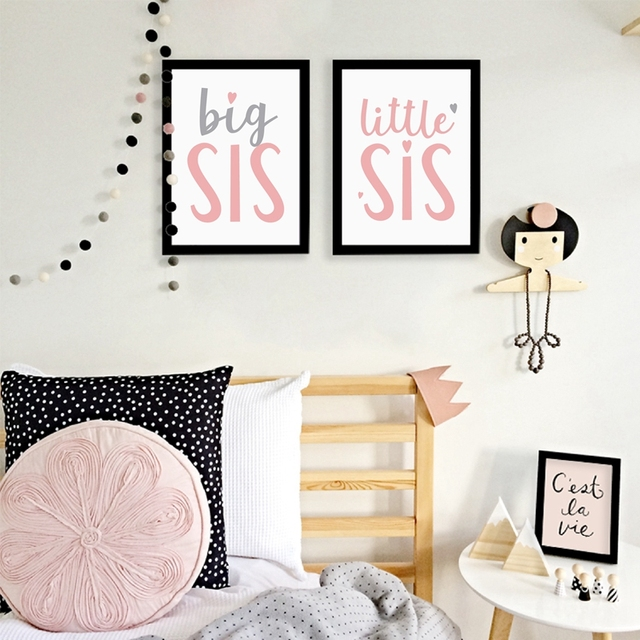Little Sister Quote Poster Canvas Print Wall Art Decor