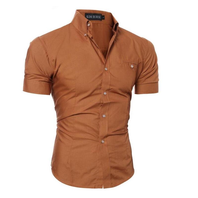 2019 Men Brand Shirt Male Short Sleeve Hawaiian Shirts Casual Metal Buckle Hit Color Slim Fit Black Mens Dress Shirts