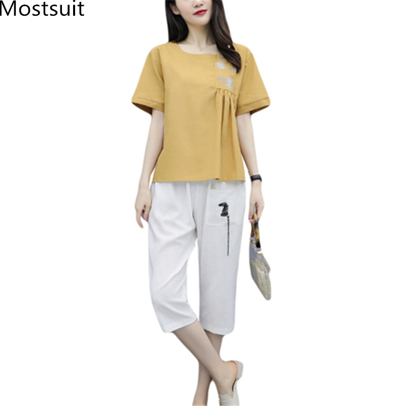 M-3xl Summer Cotton Linen Two Piece Sets Outfits Women Plus Size Embroidery Tops And Cropped Pants Suits Vintage Casual Sets 39