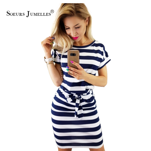 2019 New Summer dress women vintage draped sexy bodycon vestidos striped short sleeve slim female dresses