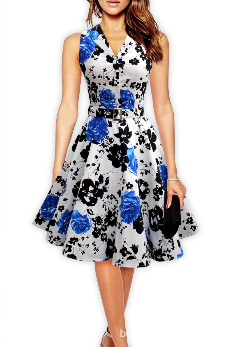 mujeres de la moda elegante vestido estampado retro hepburn estilo s s sin mangas