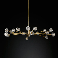 American Post Modern RH Loft Led G4 Chandelier Living Room Copper Led Chandelier Lighting Foyer Crystal