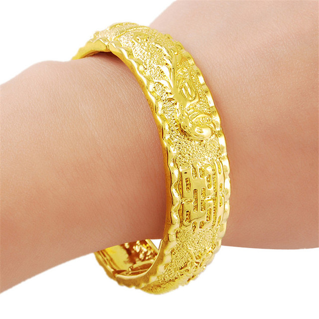 High Quality 24K Real Yellow Gold Plated Big Wide Round Bangle Bracelet for Women Wedding Jewelry Free Shipping H014