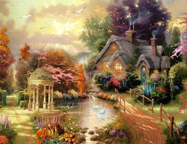 New Mosaic Full Diamond Embroidery Beads Woods Garden Cottage Tree River Landscape Diamonds Cross Stitch Painting
