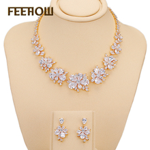FEEROW Trendy Exquisite White 18K Gold Plated CZ Diamond Flower Jewelry Sets Earrings And Necklace For