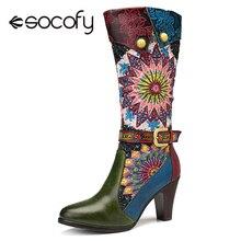 Socofy boêmio retro mid calf botas mulher sapatos de couro genuíno vaca botas vintage zíper bloco saltos altos 2020