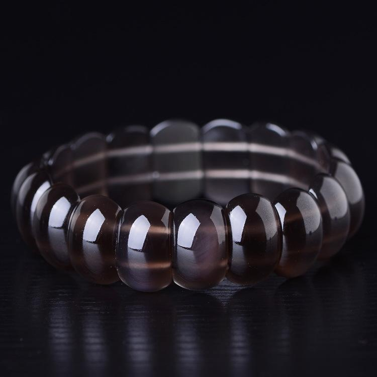 18x10mm Beautiful Natural Ice Clear Obsidian Strip Beads Gem Stone Lucky Stretch Elastic Bracelet Fashion Jewelry for woman man