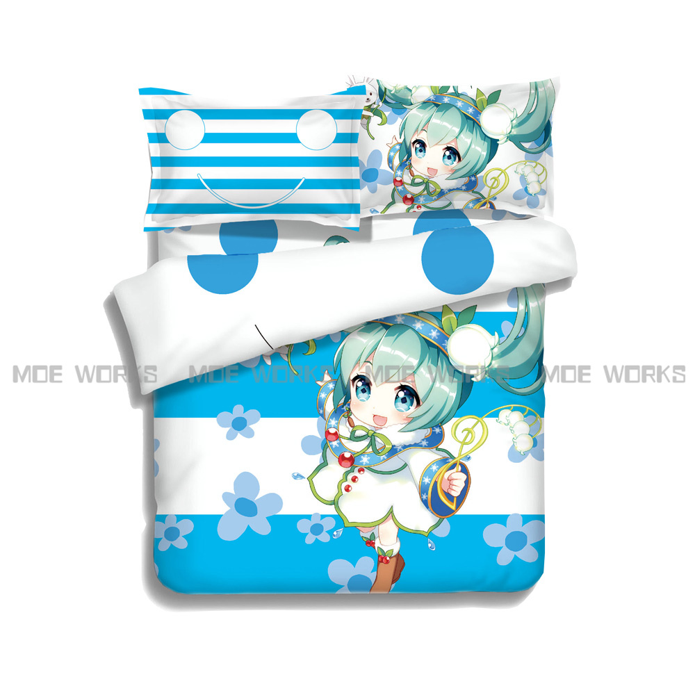 new style fashion style vocaloid hatsune miku bed linen set bedding set sale bedclothes duvet cover bed sheet pillowcases
