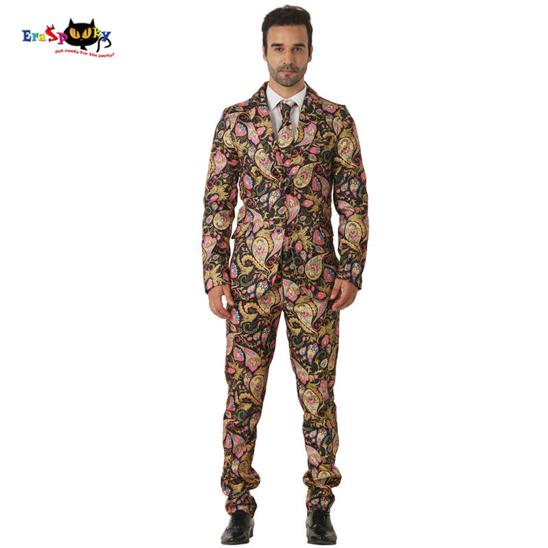 CRAZE 2018 Black Gold Abstract Floral Suits Men Halloween Costumes Blazer Cosplay Fashion Suits Carnival Party Club Outfit