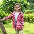 Niños niños niñas floral parka navy chaqueta de forro polar a prueba de viento impermeable zanja primavera otoño abrigos muchachas de la manera outwear