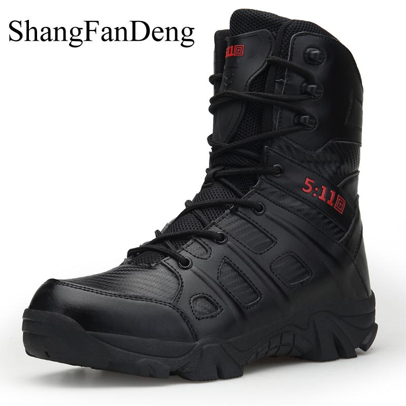 Winter Men Boots High Top Lace Up Desert Boots Training Tactical Boots Mountain Botas Hombre Plus Size Ourdoor Hiking Men Shoes