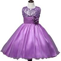 4 Seasons Glitter Pailette 3d Flower Sleeveless Mesh Princess Chiffon Girls Party Wedding Tutu Dress Kid