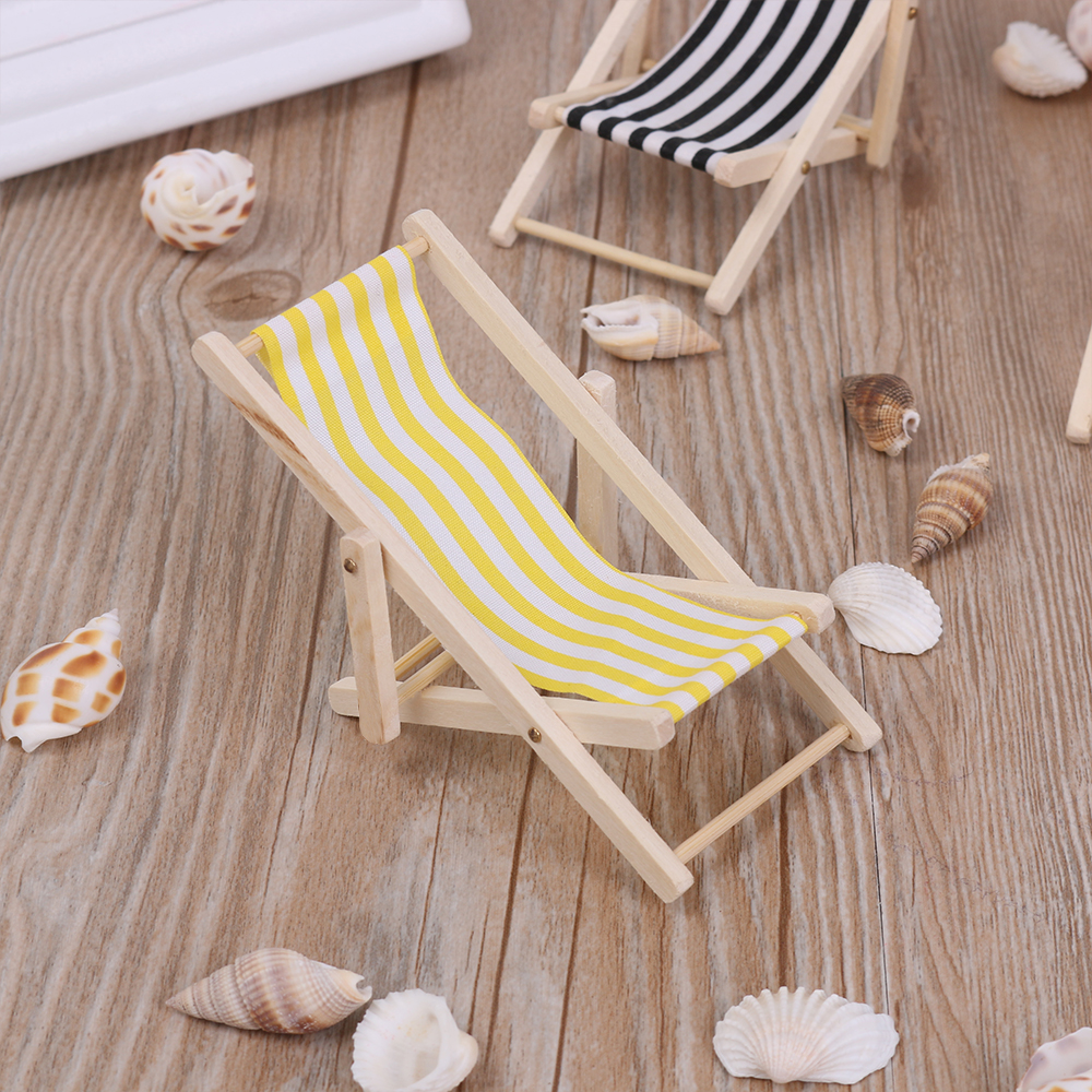 Enjoyable 1Pc Wooden Lounge Chair Striped For 1 12 Dollhouse Miniature Furniture For Dolls Dollhouse Beach Chair Christmas Gift Kids Toy Creativecarmelina Interior Chair Design Creativecarmelinacom