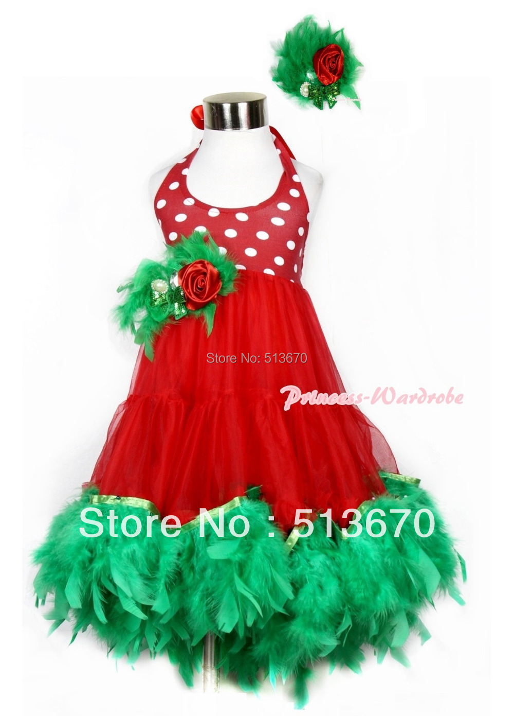 Xmas Red White Polka Dots ONE-PIECE Petti Dress Kelly Green Posh Feather & Green Feather Bow With Accessory 2PC Set MALP26-1 карнавальные аксессуары новогодняя ярмарка колпак новогодний