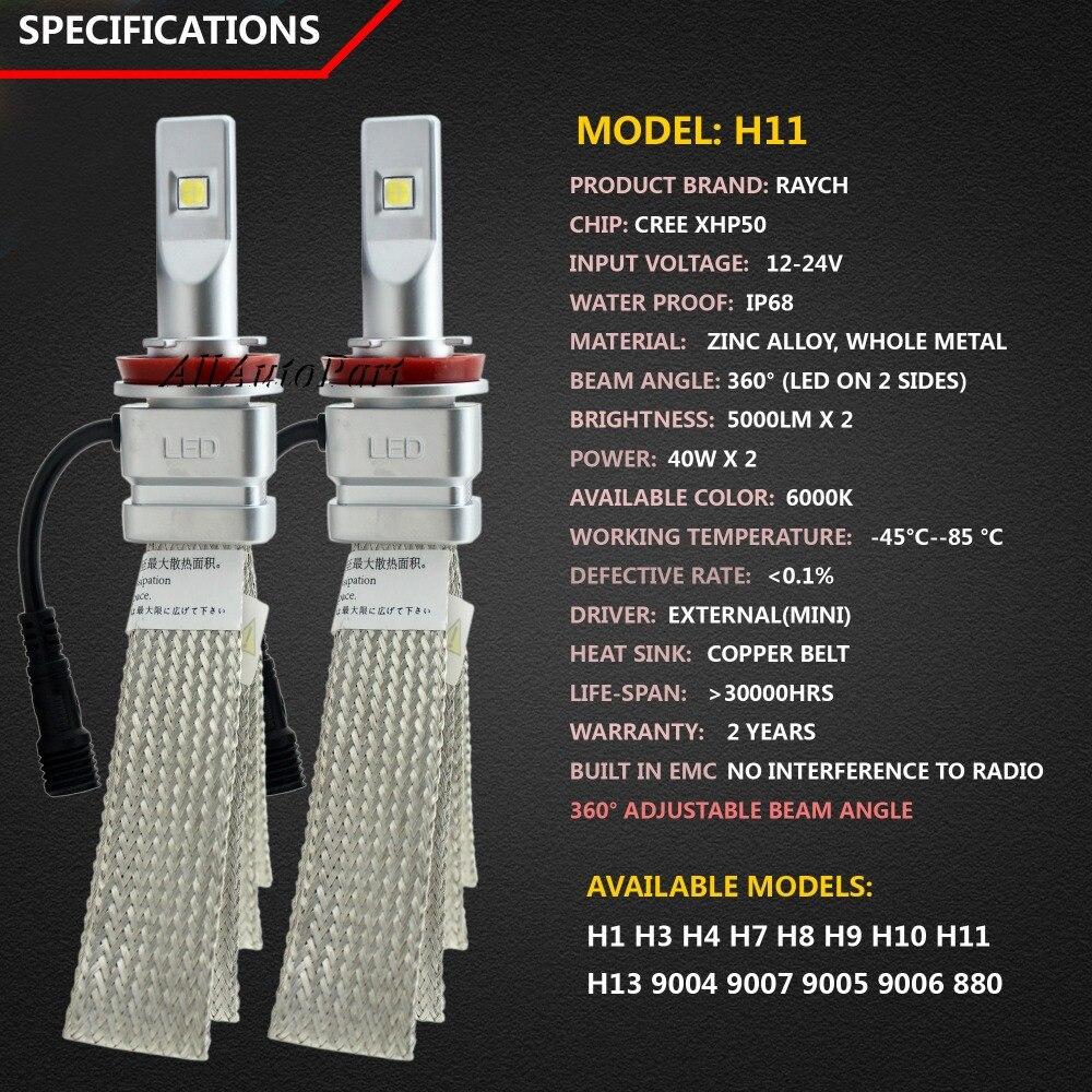 80 w/Pair Cr ee Chip H4 H13 Hallo lo Strahl H7 9005 HB3 9006 HB4 H11 H9 H1 FÜHRTE Scheinwerferlampe 10000lm 12 V 6000 karat Auto LED Scheinwerfer 24 V - 2