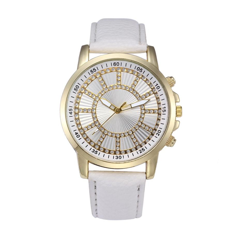 Women watches new Retro Digital Dial Leather Band Quartz Analog girls Wrist Watch luxury casual ladies Rhinestone bracelets A80