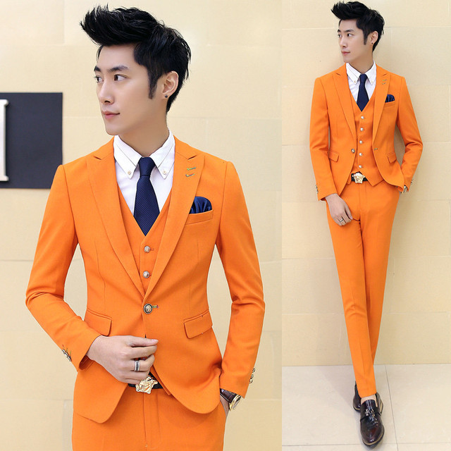 Men S High Quality Candy Color Slim Suits New Brand Male Formal Wear Wedding Dress Business Casual