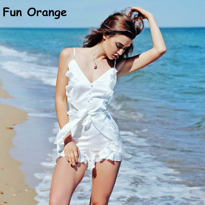6311798f1bc4 Fun Orange V Neck Ruffle Bow High Waist Satin Women Jumpsuit Romper Sexy  Sleeveless Loose Jumpsuit Summer Streetwear Overalls-in Rompers from Women s  ...
