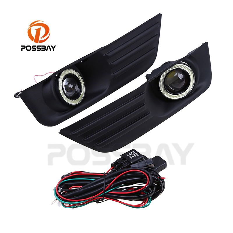 POSSBAY LED Angel Eyes DRL White Fog Lights Lamp Daytime Running Light Fit For Ford Focus MK2 DA3 5 Door Hatchback 2004~2008 eemrke cob angel eyes drl for kia sportage 2008 2012 h11 30w bulbs led fog lights daytime running lights tagfahrlicht kits page 5