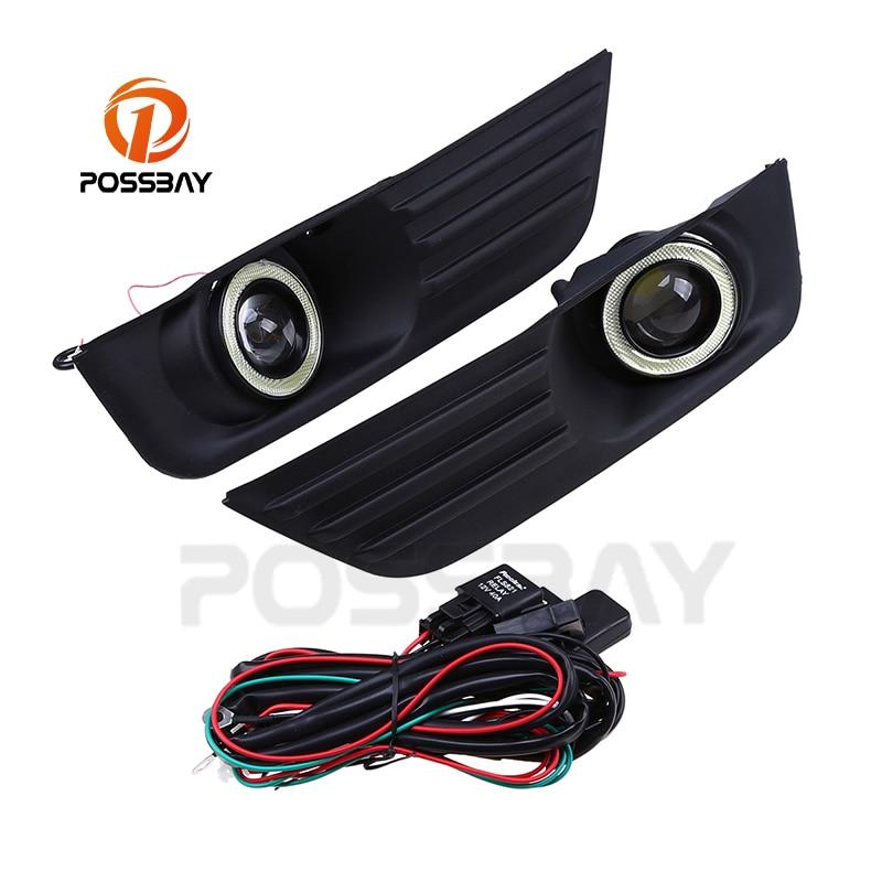 POSSBAY LED Angel Eyes DRL feux de brouillard blanc feux de jour adaptés pour Ford Focus MK2 DA3 5 porte hayon 2004 ~ 2008