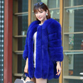 Womens Plus Size Natural Whole Skin Blue Fur Coats Jackets Winter Russian Fur Medium-long Fur Coat Outerwear BF-C0059
