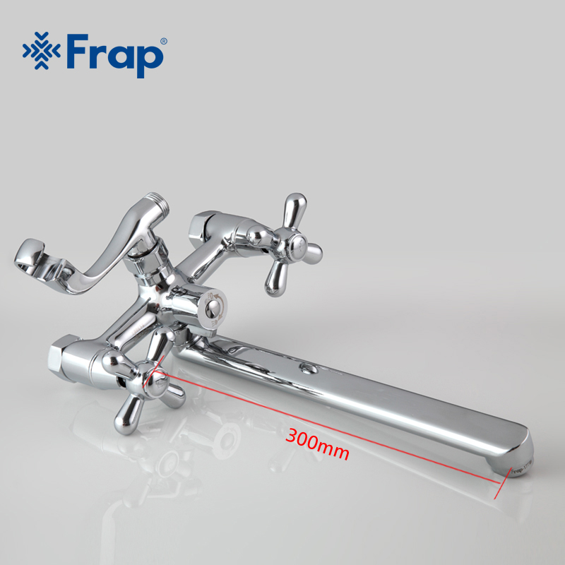 Image 4 - FRAP Traditional bathroom faucets 300mm long water outlet tube move 90 degrees left and right F2225 F2224-in Shower Faucets from Home Improvement