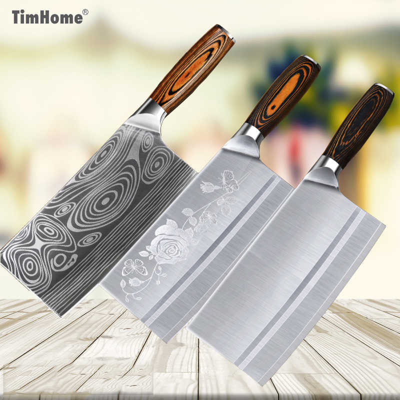 Timhome Stainless Steel Flower Pattern Meat Cleaver 8inch Chef Chinese Knife Butcher Chopper Vegetable Cutter Kitchen Knife
