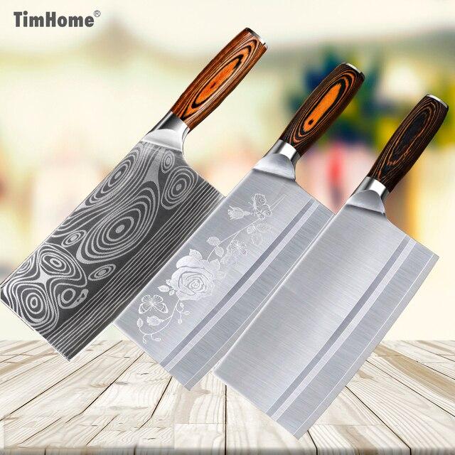 Timhome 8 дюймов нержавеющей стали нож китайский Мясник нож мяса нож измельчитель овощерезка кухонный шеф повара нож