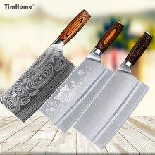 Timhome tasak do mięsa ze stali nierdzewnej 8 cali chiński nóż nóż rzeźnicki krajalnica do warzyw nóż szefa kuchni