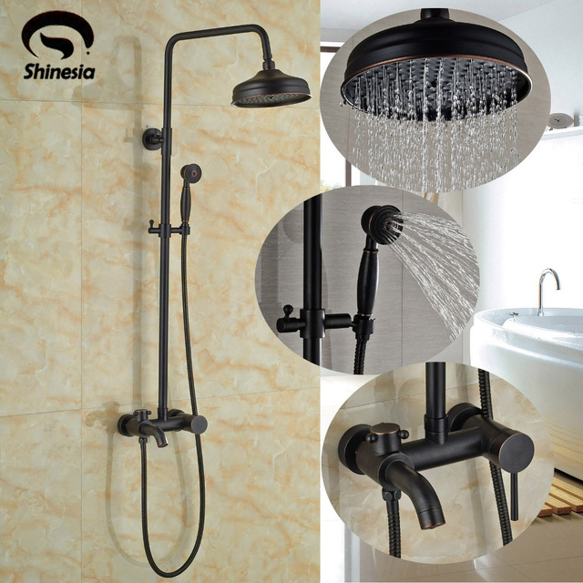 Luxury Oil Rubbed Bronze Rainfall Shower Set Faucet 8 Inch Head Double Handles Tub Mixer