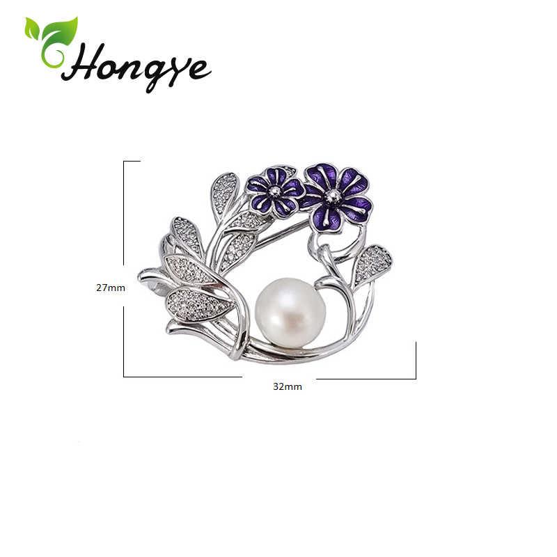 Hongye 925 Sterling Silver Bros Pin Gadis Ungu Bunga Mantel Aksesoris Zircon Dekoratif Pin Mutiara Alami Wanita Bros