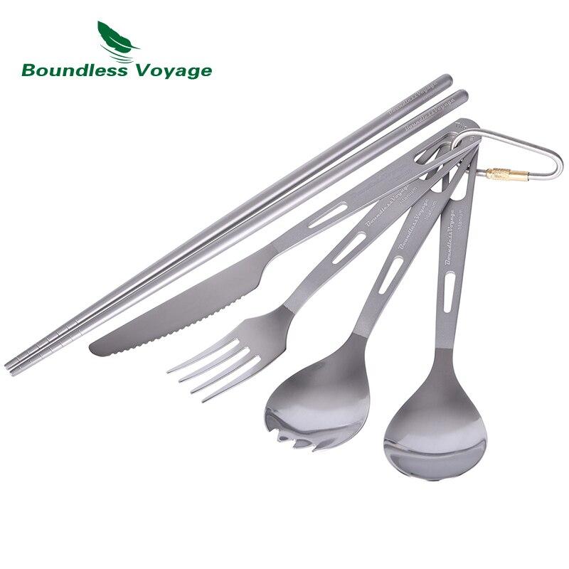 Boundless Voyage Titanium Knife Spork Spoon Fork Chopsticks 5pcs Set Outdoor Camping Tableware Cutlery