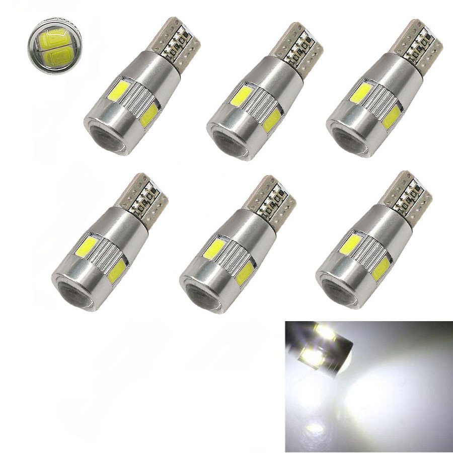 6pcs White 6LED SMD 5630 Error Free 194 168 W5W Universal parking Car LED T10 LED CANBUS T10 LED CANBUS Car Side Light 4x canbus error free t10 194 168 w5w 5050 led 6 smd white side wedge light bulb