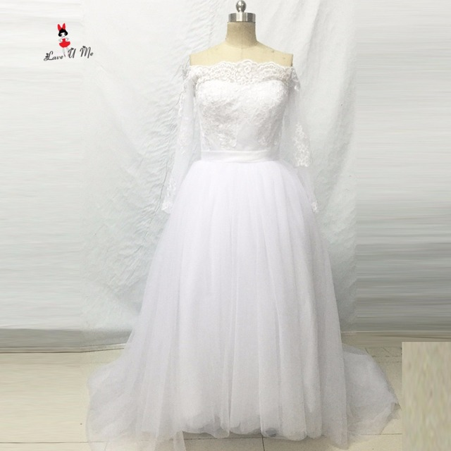 Chic Korean Wedding Dress White Lace Long Sleeve Bride Dresses 2017 ...