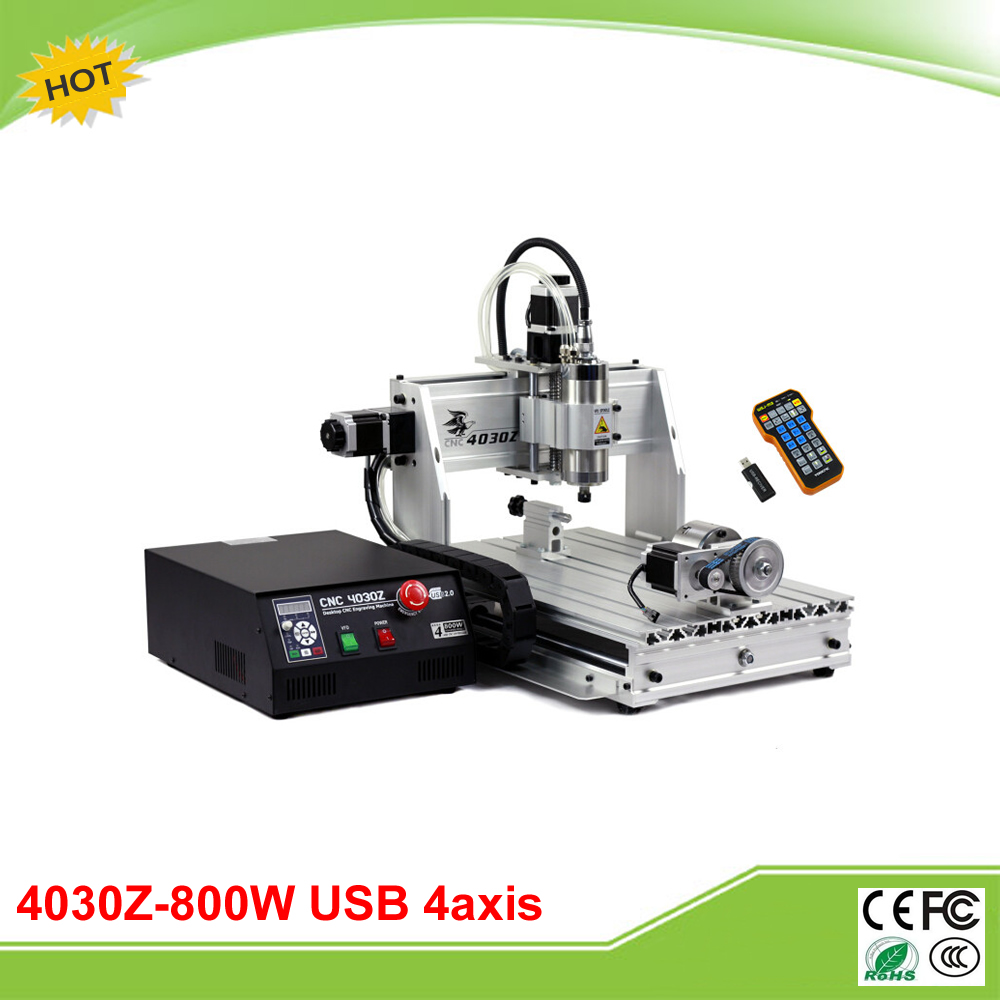 Free tax to EU mini CNC router 4030Z-800W USB 4 axis with mach3 remote control mini CNC machine no tax to russia cnc carving machine 4030 z d300 cnc lathe mini cnc router for woodworking