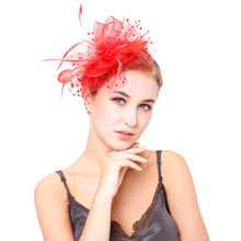 Women Elegant Fascinator Headwear Hair Clips Hollow Flower Feather Bands Mesh Cocktail Party Wedding Accessories