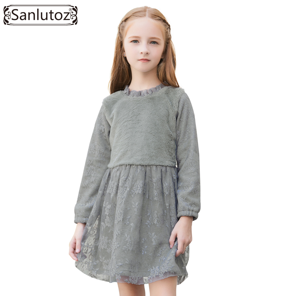 Sanlutoz Girl Dress Winter Girls Clothing Long Sleeve Kids Dress Thick 2017 Toddler Lace Princess Fashion Brand Party Wedding