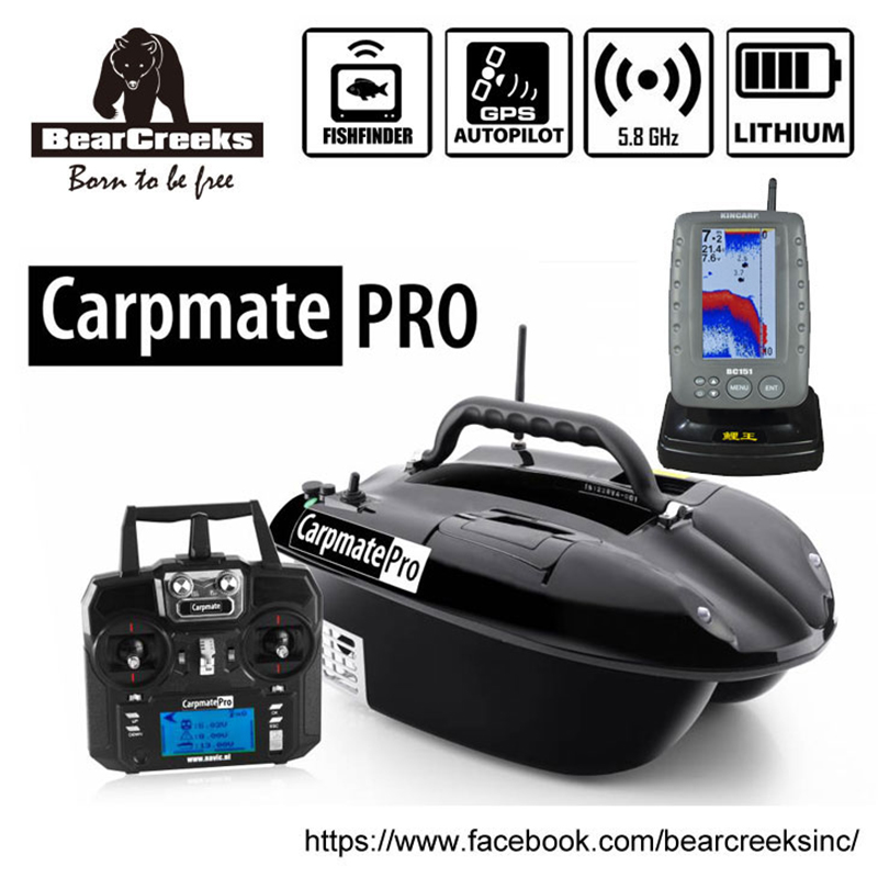GPS Autopilot BearCreeks Carpmate Carp PRO V4 Fishing Bait Boat with BC151 Color Fishfinder remote control bait thrower