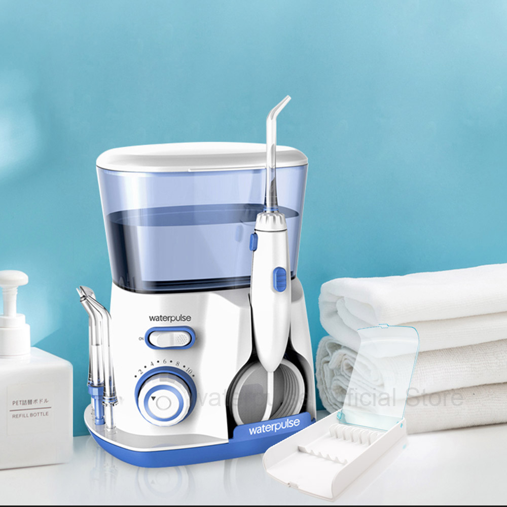 Waterpulse V300 Oral Irrigator Water Flosser Dental Flosser With 5 Jet Tips and Case Electronic Dental Irrigator Teeth Cleaner