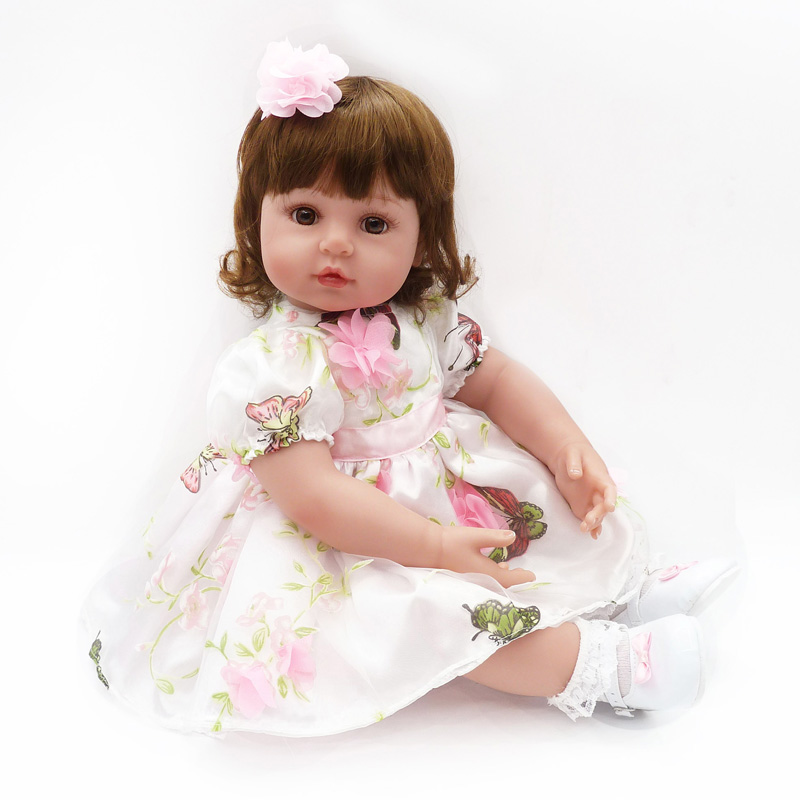 все цены на 22 Inch 55cm New Victorianes Adora Lifelike Skirt Dress Newborn Baby Bonecas Baby Kid Toy Girl Soft Silicone Reborn Baby Dolls онлайн